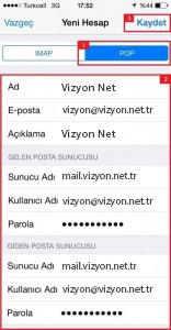 Iphone pop3 mail kurulumu
